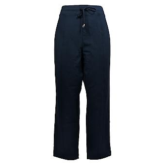 Susan Graver Women's Petite Pants L Stretch Drawstring Blue A384164