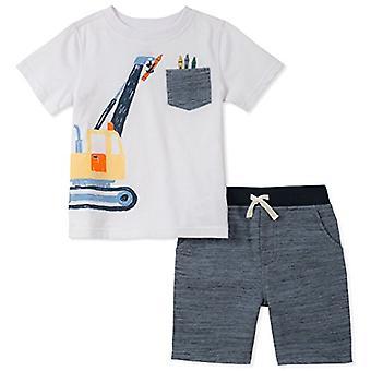 Kids Headquarters Boys-apos; Toddler 2 Pieces Short Set, White/Heather Blue, 3T