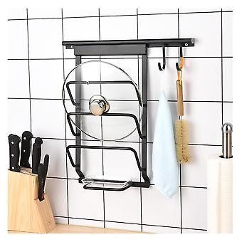 Wall Mounted 3 Layers Kitchen Cooking Tools  Pot Cover Holder With 2 Hooks