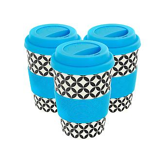 Reusable Coffee Cups - Bamboo Fibre Travel Mugs with Silicone Lid, Sleeve - 350ml (12oz) - Circles - Blue - Pack of 3