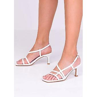 Faux Leather Strappy Kitten Heeled Sandals White