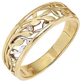 ウィメンズリング 585 ゴールドイエローゴールドホワイトゴールドバイカラー 1 ダイヤモンドブリリアント 0.02ct.