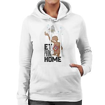 E.T. Teléfono casa mirando a la nave espacial mujeres's sudadera con capucha