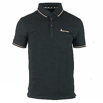 Chemise polo noire logo de marque Aquascutum