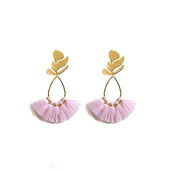 Gold Leaf Fringe korvakorut - Pretty Pink Fringe