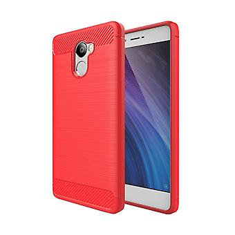 ل Xiaomi Redmi 4 نسيج ألياف الكربون TPU واقية حالة (أحمر)