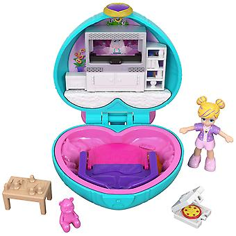 Polly pocket gcn07 tiny pocket places polly sleepover compact with doll polly's living room