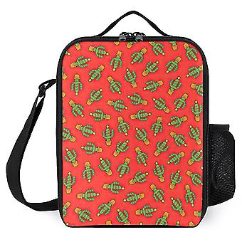 Cactus Christmas Tree In Red Printed Lunch Bags Reusable Lunch Box