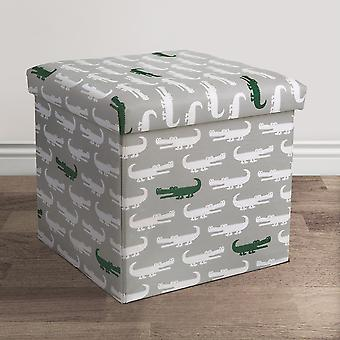 Alligator Fabric Covered Collapsible Ottoman Gray/Green Set 15X15X15