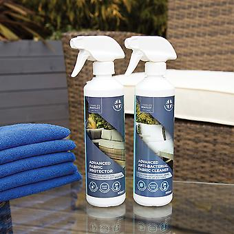 Charles Bentley Outdoor Antibacterial Fabric Cleaner and Protector with Microfiber Cloths Bundle for Fabrics 500ml