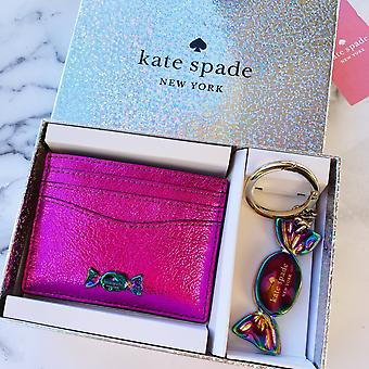 Kate spade slik butik nøglen fob & metallisk kortholder sæt pink nyhed gaveæske