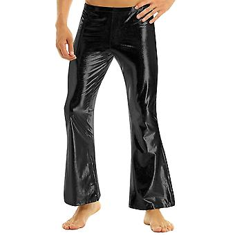 Mens Fashion Clubwear Shiny Metallic Disco With Bell Long Pants