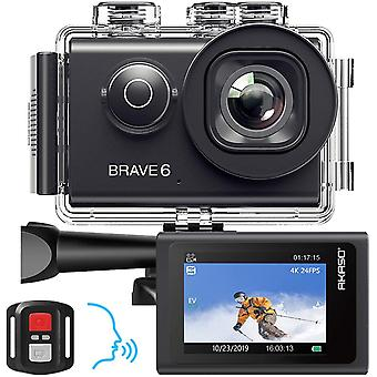 Action Camera, Voice Control 4K 20MP WiFi EIS 30m Underwater Waterproof Camera
