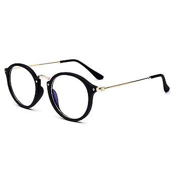Round Glasses Frame & Blue Light Glasses, Luxury Transparent / Computer