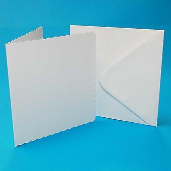Craft UK Cards & Envelops 8x8 Inch Scalloped White – 25pcs