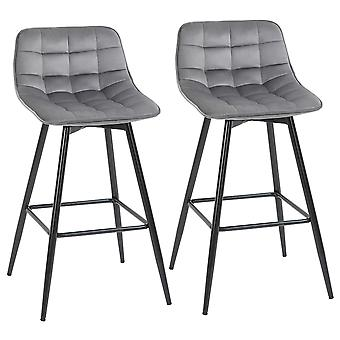 HOMCOM Kitchen Counter Chairs Set of 2 Velvet-Touch Dining Chairs Bar Stools Fabric Upholstered seat with Metal Legs, Backrest, Grey