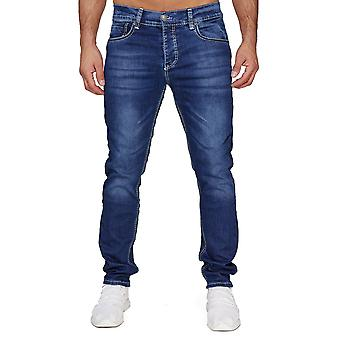 Homme AMICA Denim Jeans Thick White Decor Stitching Pants 5-Pocket Regular Fit