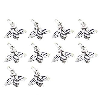 Pack Of 10 Bees 2d Sterling Silver Charms .925 Insect & Bee Charm - 569