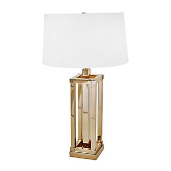 Lámpara de mesa de metal base de columna cuadrada con sombra de tambor cónica poco profunda, oro