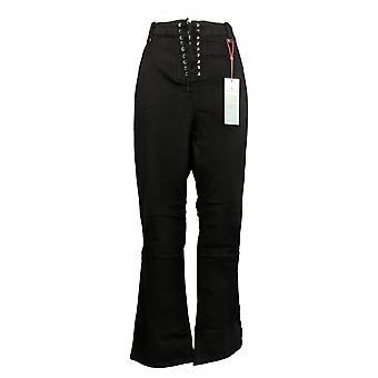 Laurie Felt Women's Petite Jeans Silky Lace Front Boot-Cut Black A367060