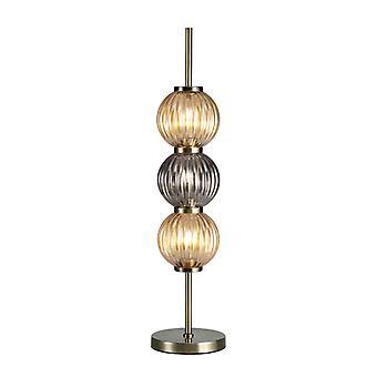 Lámpara De Mesa Emma 3 Bombillas Latón Envejecido 25 Cm