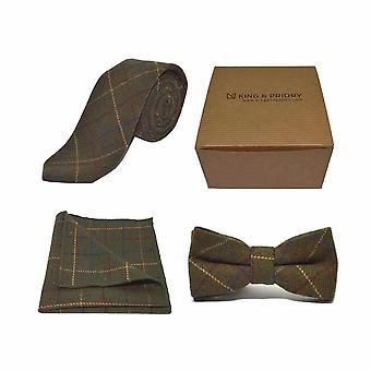 Heritage Check Regency pajarita verde corbata, corbata & Conjunto Pocket Square | Caja