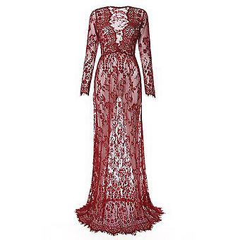 Maxi Maternity Gown Lace Maternity Dress Fancy Photo Shooting Dress