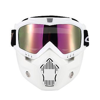 قناع Mortorcycle نظارات قابلة للفصل وفم مرشح لخوذة الوجه المفتوحة موتوكروس التزلج على الجليد