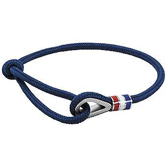 HEREN armband ROCHET PULLEY - stalen katrol met blauw/wit/rode laque op verstelbaar blauw katoenen koord