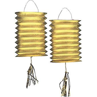 2 Lampions métalliques dorés