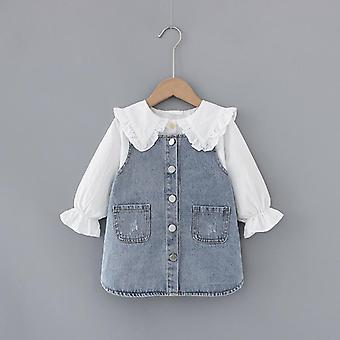 Baby Peter Pan Kragen Langarm Shirt + Denim Kleid