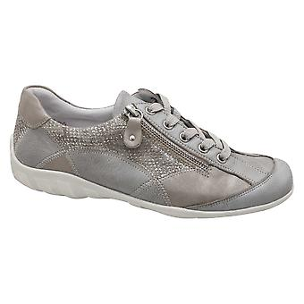 Remonte Grey & Bronze Panel Detail Lace-up Trainer