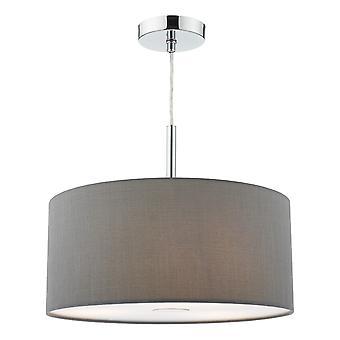 DAR RONDA Zylindrisch 40cm 3 Licht Anhänger Licht Schiefer grau mit Diffusor