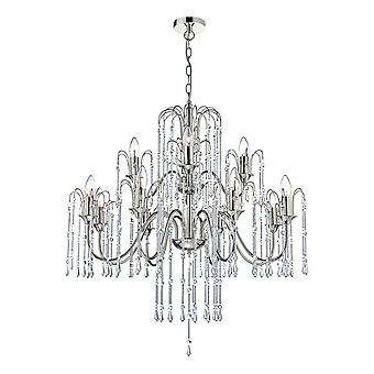 Pendant Light Polished Nickel With Chrome Rods And Crystal Beads, 12x E14