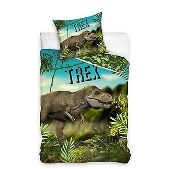 T-Rex Single Duvet Cover and Pillowcase Set - European Size