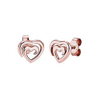 Elli - Naisten korvakorut sydämen muodossa, 925 - 0303761717 ja hopea, väri: Ruusukulta, turska.