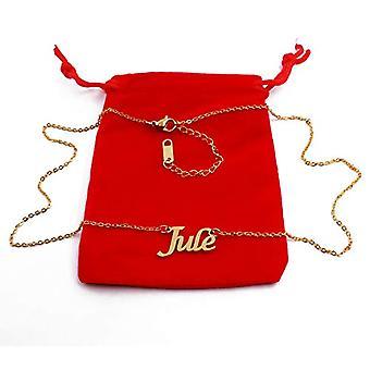 KL Jule - 18 karan kullattu kaulakoru, mukautettu nimi, säädettävä pituus 16 - 19 cm