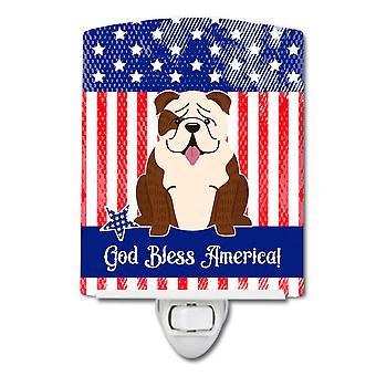 Caroline s Schätze patriotischen Usa englisch Bulldogge Brindle weiß Keramik Nachtlicht, 6 X 4, Multicolor