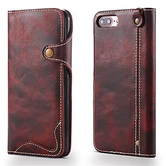 Genuine leather wallet case card slot for iphone xs max6.5 red no4031