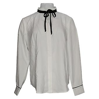Elizabeth & Clarke Women's Top Reg Button Front Tie Collar White A353170