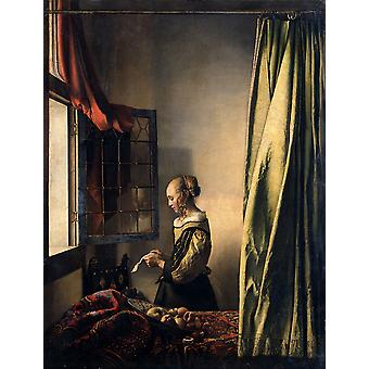 Girl Reading A Letter At An Open Window, Johannes Vermeer Art Reproduction.modern Hd Art Print Poster,canvas Prints Wall Art For Home Decor Pictures