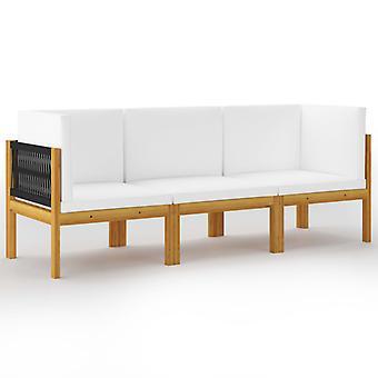 vidaXL 3-personers havesofa med pude massivt træ akacie