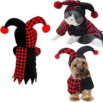 Halloween hauska klovni lemmikkikoira kissa puku