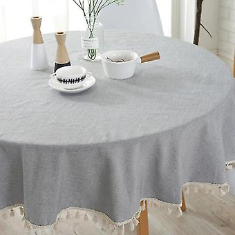 120cm Style Tablecloth Simple Cotton Linen Tablecloth Round Plain Solid Tablecloths(Light grey)