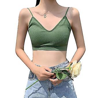 V Ausschnitt Cami Bh Bralettes für Frauen, gepolsterte nahtlose Bralette Straps 2pack (Grün)