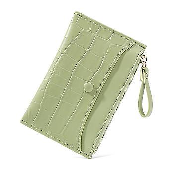 Ultratenká multi-karetní slot pu karta taška krátké dámské mince kabelka (zelená)