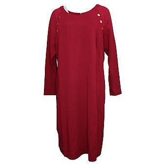 IMAN Global Chic Plus Vestido Equipado Ponte con botón Detalle Rojo 713080