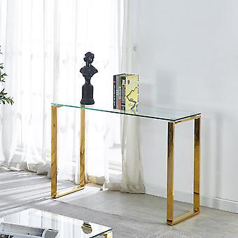 Table console en verre trempé avec pieds en métal