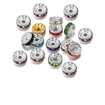 Rondelle Beads, 50 Pcs 0.23inch Colored Spacer Bead With Rhinestone, Jewelry Charms Beads