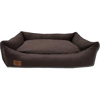Koiran sänky - 100 x 70 cm - pestävä kansi - vedenpitävä - koiran sänky - tyyny - ruskea
